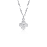 Bree Richey Petite Satin White Sapphire Flower Drop Pendant in Sterling Silver