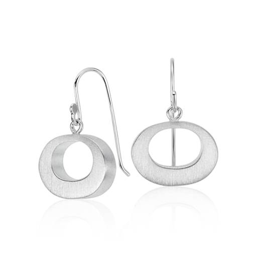 Bree Richey Petite Satin Oval Drop Earrings in Sterling Silver