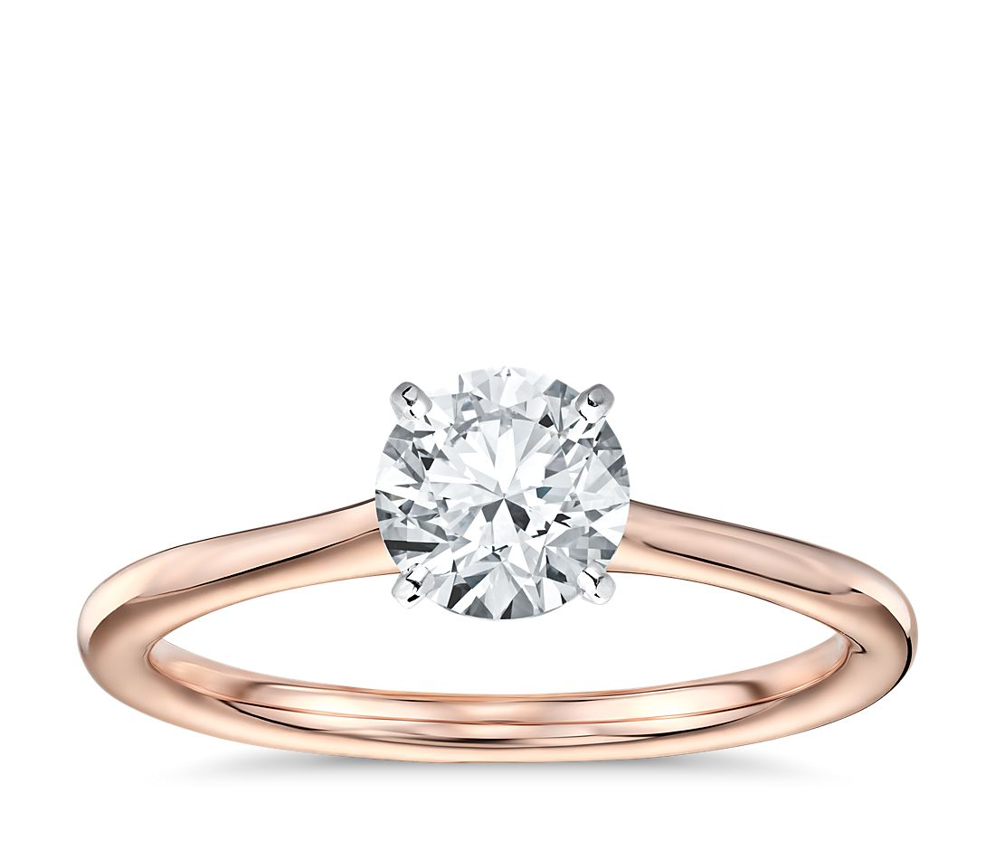 petite solitaire engagement ring in 14k rose gold blue nile. Black Bedroom Furniture Sets. Home Design Ideas