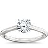 Petite Solitaire Engagement Ring in Platinum