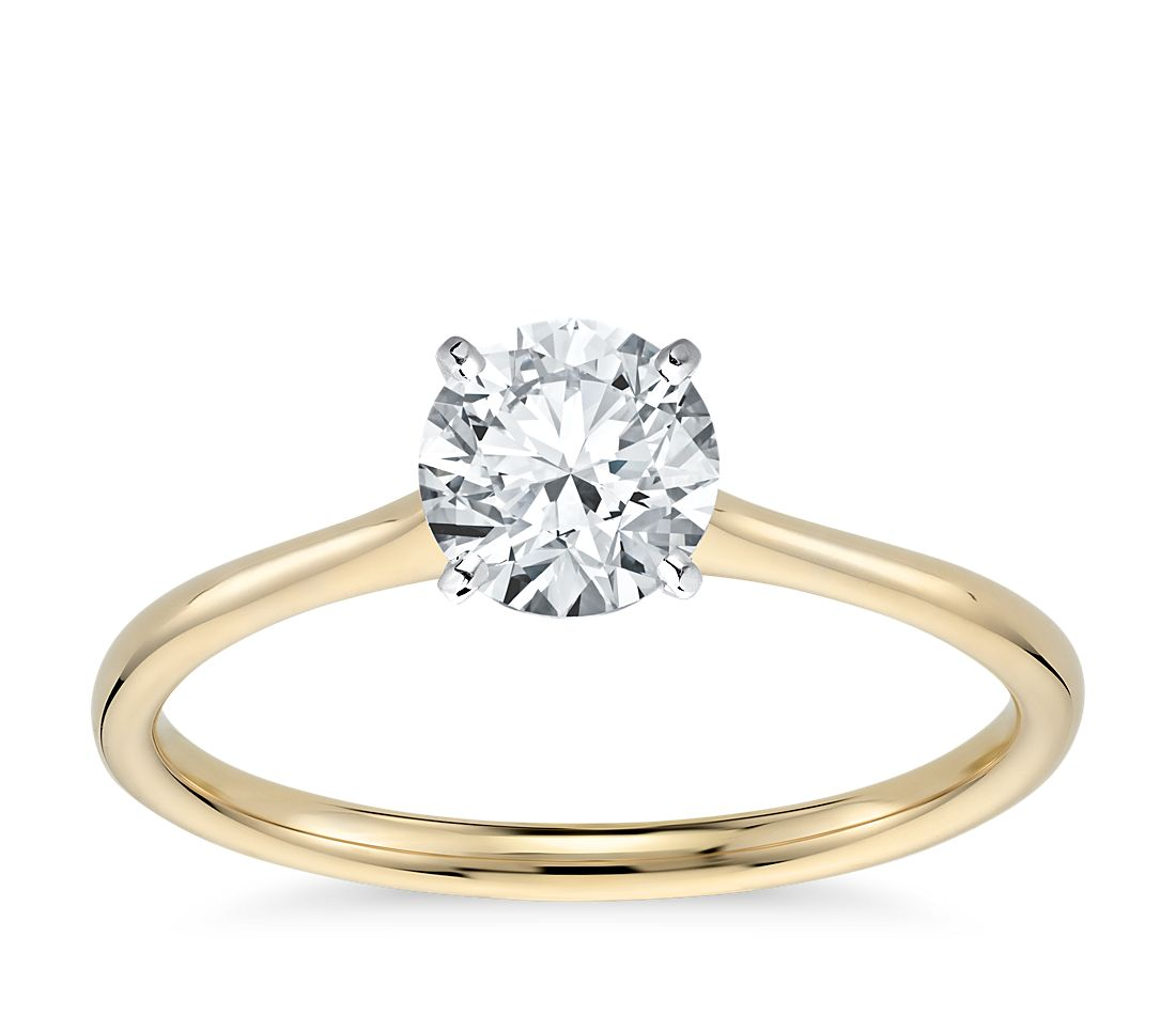 Petite Solitaire Engagement Ring in 18k Yellow Gold | Blue ...