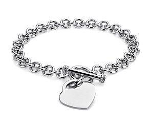 Petite Toggle Heart Tag Bracelet in Sterling Silver