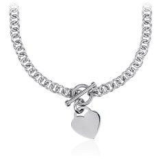 Petite Toggle Heart Tag Necklace in Sterling Silver
