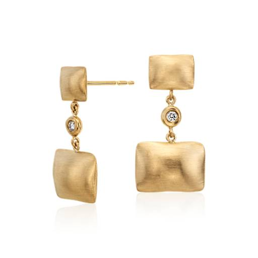 NEW Angela George Pillow Talk Diamond Earrings in 14k Yellow Gold