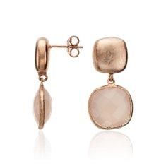 Pink Chalcedony Earrings in 18k Rose Gold Plated Sterling Silver