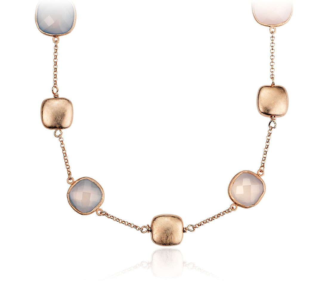 Pink Chalcedony Necklace in Rose Gold Vermeil
