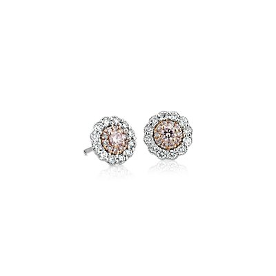 NOUVEAU Pink Diamond Earrings 18k White and Rose Gold (1/2 carat, poids total)