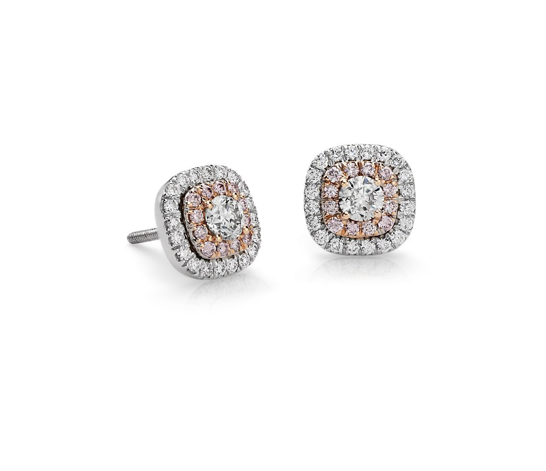 Double Halo Pink Diamond Earrings in 18k White and Rose Gold