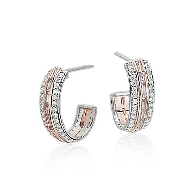 NEW Pink Diamond Hoop Earrings in Platinum and 18k Rose Gold (1.17 ct. tw.)