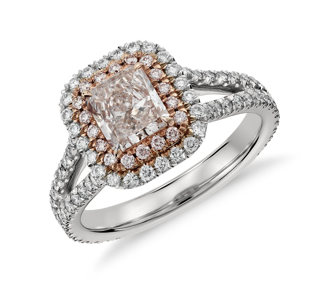 Radiant Fancy Light Pink Micropavé Halo Split Shank Diamond Ring in Platinum and 18k Rose Gold (0.82 ct. center)