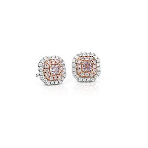 Pink Diamond Double Halo Stud Earrings in 18k White and Rose Gold (1/2 ct. tw.)