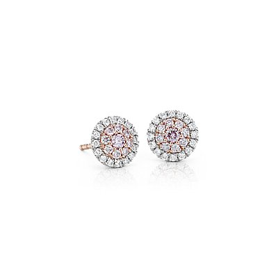 NEW Fancy Pink Diamond Halo Stud Earrings in Platinum & 18k Rose Gold (1/2 ct. tw.)