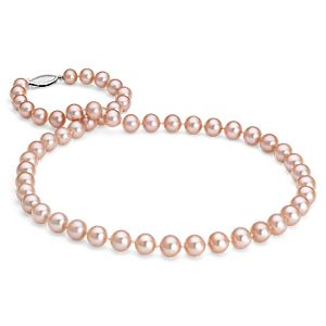 Collier de perles de culture d'eau douce roses en or blanc 14 carats (7,0-7,5 mm)