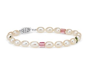 Freshwater Cultured Pearl Bracelet with Pink and Green Tourmaline in Sterling Silver