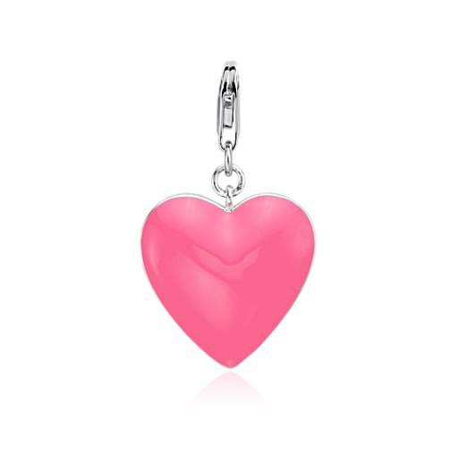 Pink Heart Charm in Sterling Silver