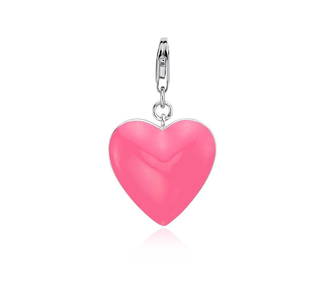 Breloque cœur rose en argent sterling