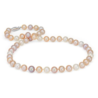 Pink Freshwater Cultured Pearl Strand Necklace in 14k White Gold (8.0-9.0mm)