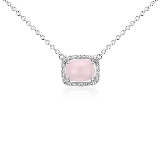 Pink Opal and White Topaz East-West Pendant in Sterling Silver (9x7mm)
