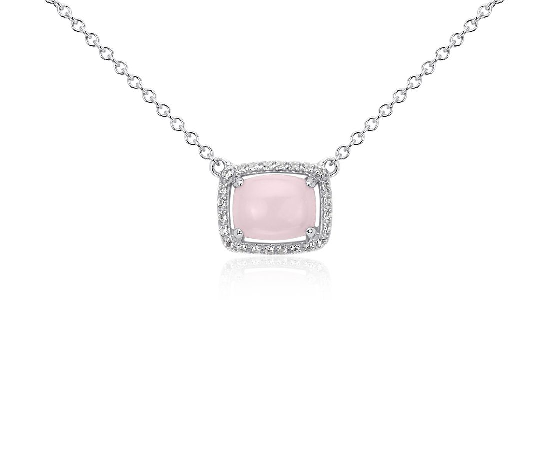 Pink Opal and White Topaz East-West Pendant in Sterling Silver