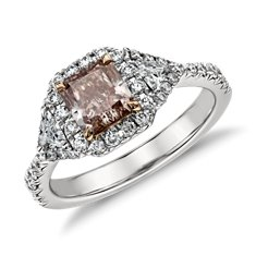 Fancy Pink Radiant Diamond Heirloom Halo Ring in Platinum (1.64 ct. tw.)