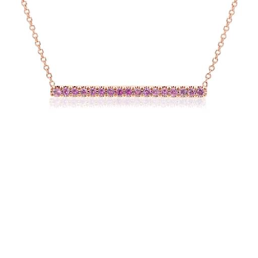 NEW Pink Sapphire Pavé Bar Necklace in 14k Rose Gold (1.5mm)