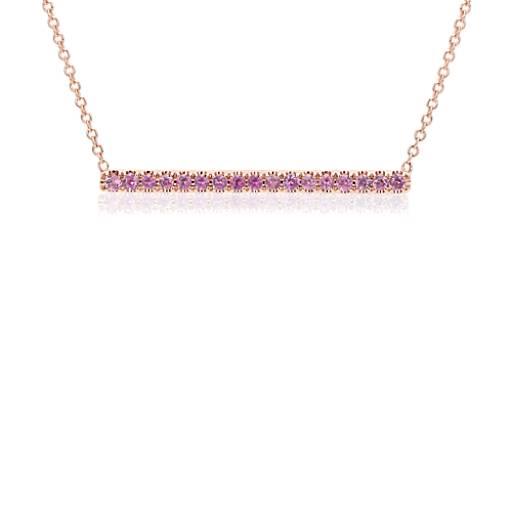 Collar con barra y pavé de zafiros rosados en oro rosado de 14k (1,5mm)