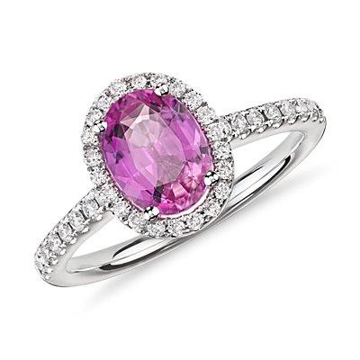 Anillo micropavé de diamantes y zafiro rosa en oro blanco de 14k (8x6mm)