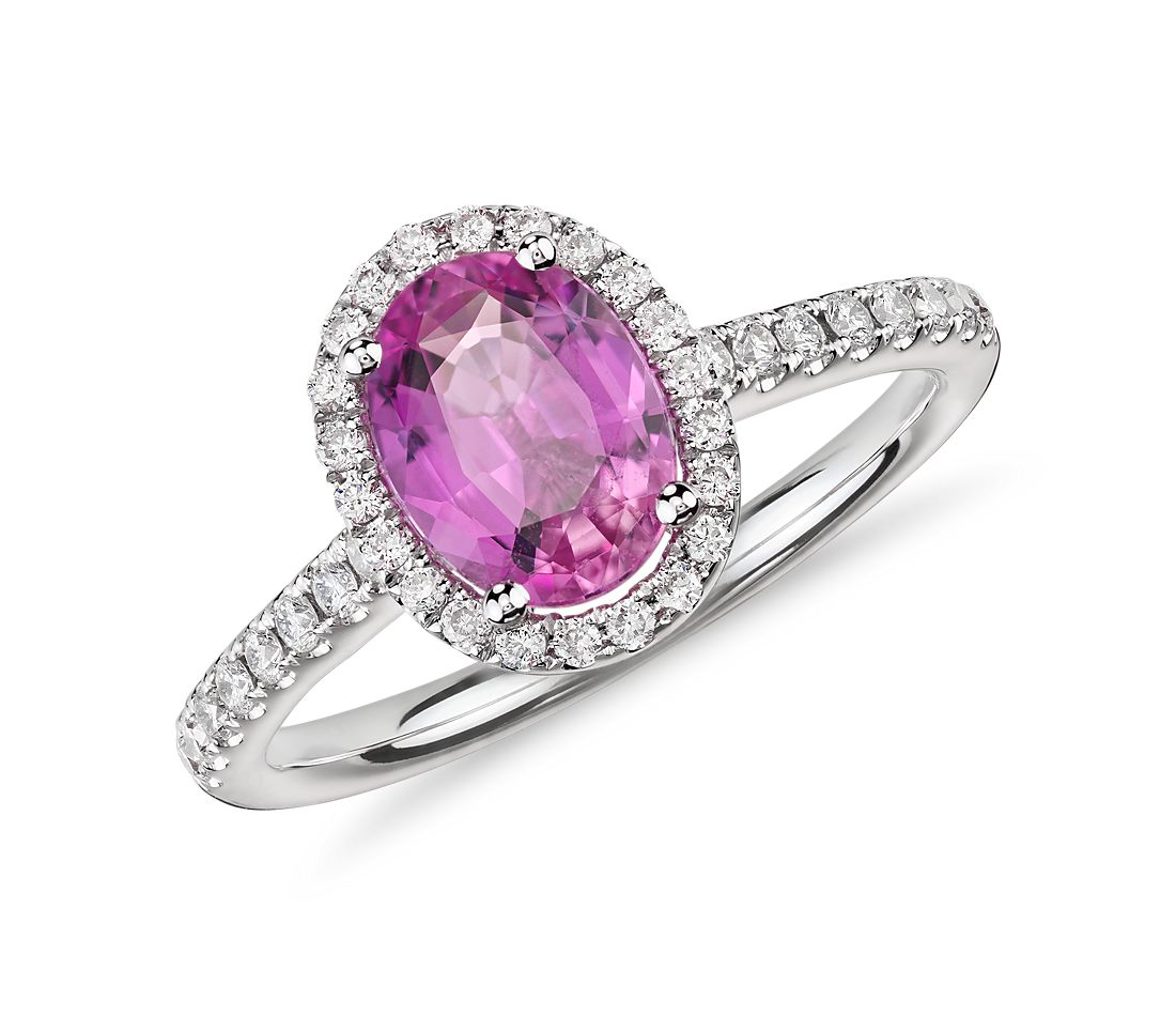 pink sapphire and micropav 233 ring in 14k white gold
