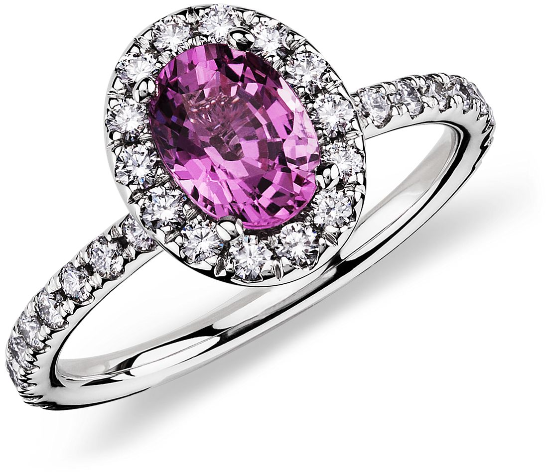 pink sapphire and ring in 18k white gold 7x5 mm