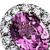 Pink Sapphire and Diamond Ring in 18k White Gold (7x5 mm)