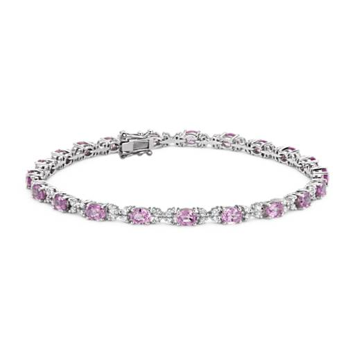 Pink Sapphire and Diamond Bracelet in 14k White Gold (4x3mm)