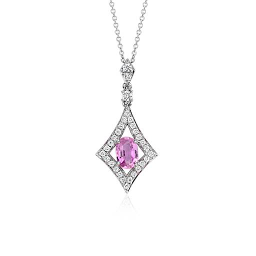 NEW Pink Sapphire and Diamond Drop Pendant in 18k White Gold (7x5mm)