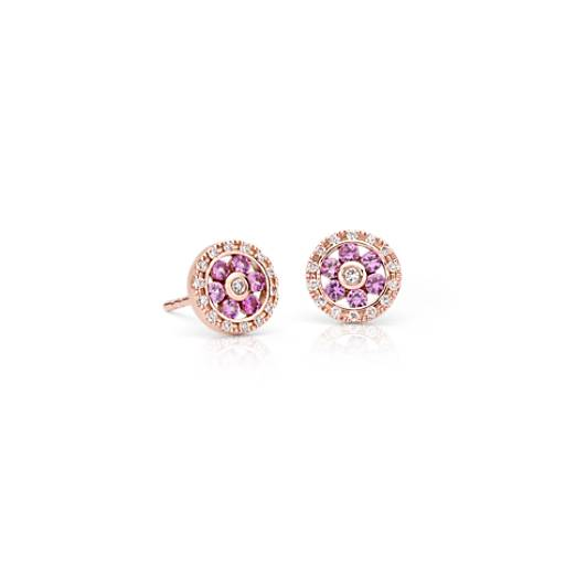 Pink Sapphire and Diamond Floral Stud Earrings in 14k Rose Gold