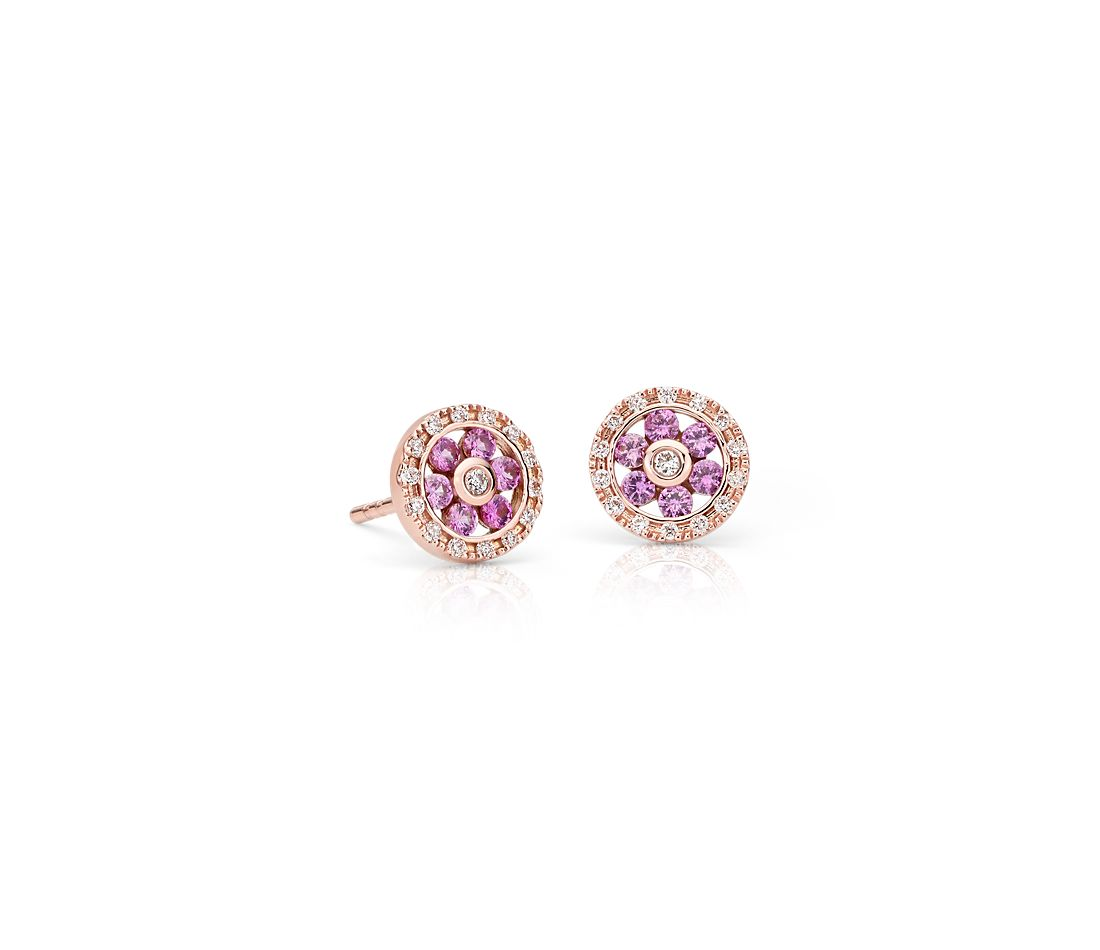Pink Sapphire and Diamond Floral Stud Earrings in 14k Rose ...