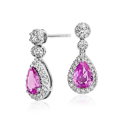 Pink Sapphire Halo Diamond Tear Drop Earrings in 18k White Gold (7x5mm)