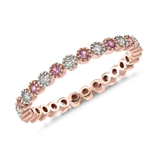 Pink Sapphire and Diamond Eternity Ring in 14k Rose Gold