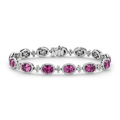 Pink Sapphire and Pavé Diamond Halo Bracelet in 18k White Gold