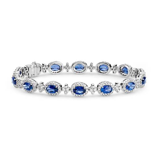 Oval Sapphire and Pavé Diamond Halo Bracelet in 18k White Gold