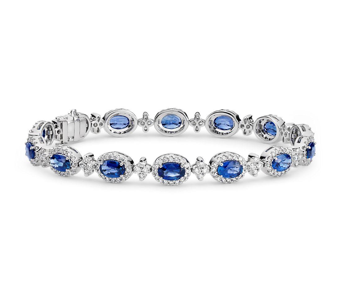 Bracelet en diamants sertis pavé et saphir bleu ovale en or blanc 18carats (6x4mm)
