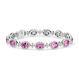 Pink Sapphire and Pavé Diamond Halo Bracelet in 18k White Gold (7x5mm)
