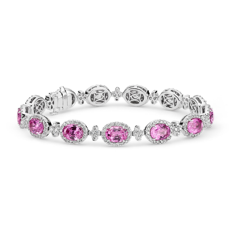 Brazalete de halo de pavé de diamantes y zafiros rosados en oro blanco de 18 k (7x5mm)