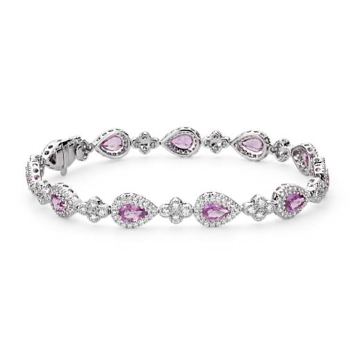 Bracelet halo de diamants sertis pavé et saphir rose en or blanc 18 carats (6 x 4 mm)
