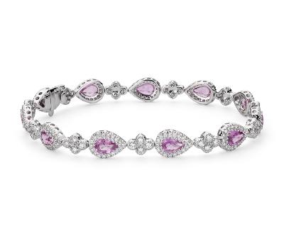 Pink Sapphire and Pavé Diamond Halo Bracelet in 18k White ...
