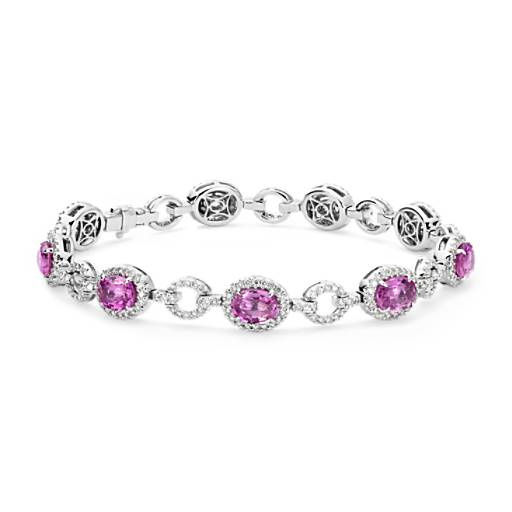 NEW Oval Pink Sapphire and Pavé Diamond Halo Bracelet in 18k White Gold (8.22 cts)