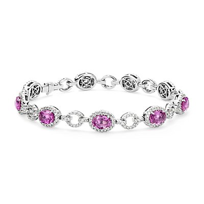 Oval Pink Sapphire and Pavé Diamond Halo Bracelet in 18k White Gold (8.22 cts)