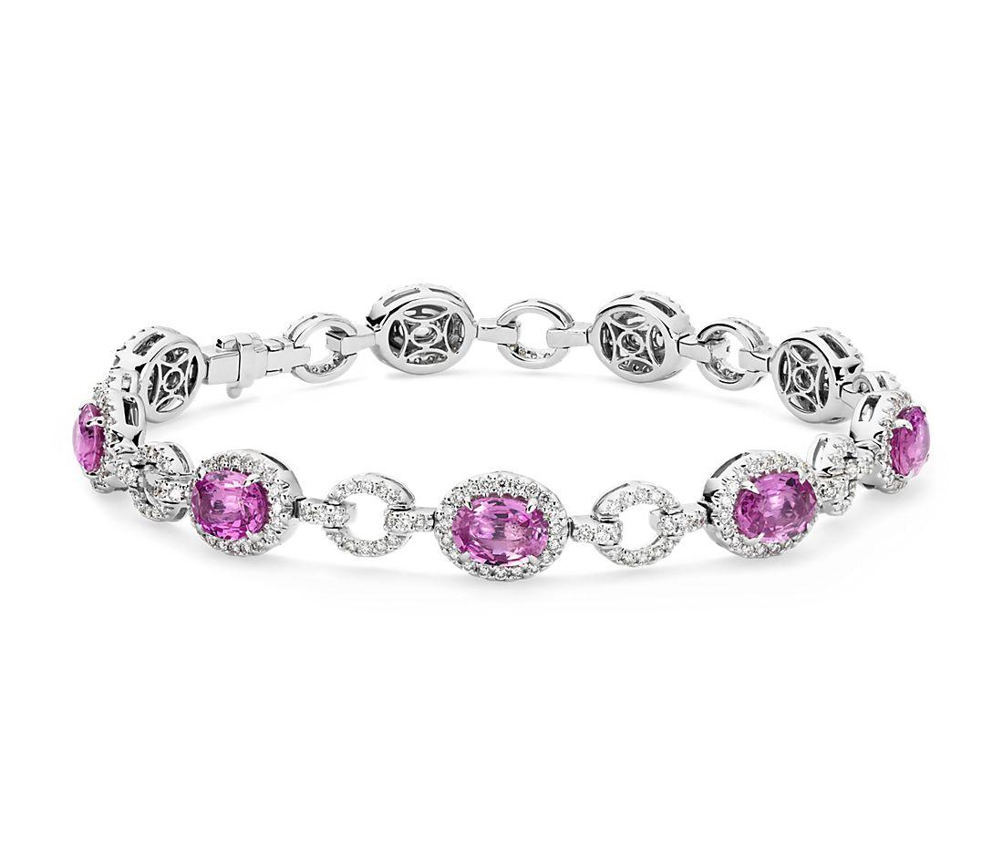 Oval Pink Sapphire and Pavé Diamond Halo Bracelet in 18k