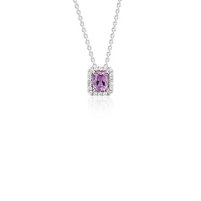 Radiant Pink Sapphire and Diamond Pendant in 14k White Gold (5x4mm)