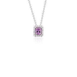 Pendentif en diamant et saphir rose taille Radiant en or blanc 14carats (5x4mm)