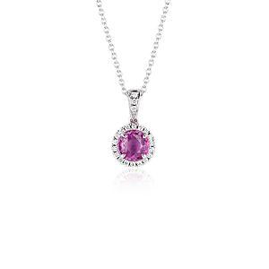 NEW Pink Colgante con zafiros y halo de diamantes in oro blanco de 18 k (6mm)