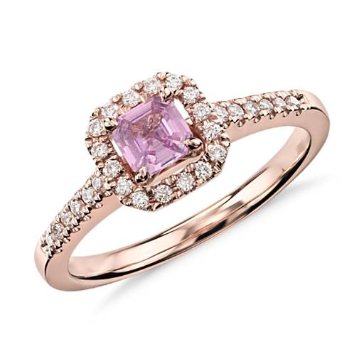 Asscher Cut Pink Sapphire and Diamond Halo Ring in 14k Rose Gold (4mm)